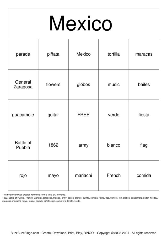 Download Free Mexico  Bingo Cards