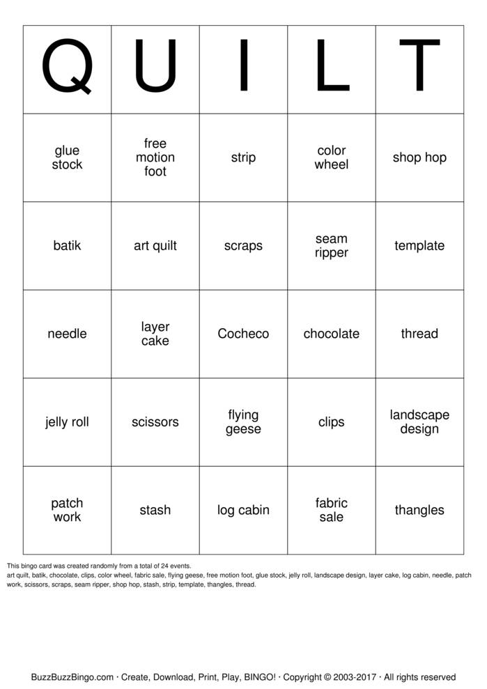 Download Quilt Bingo Cards