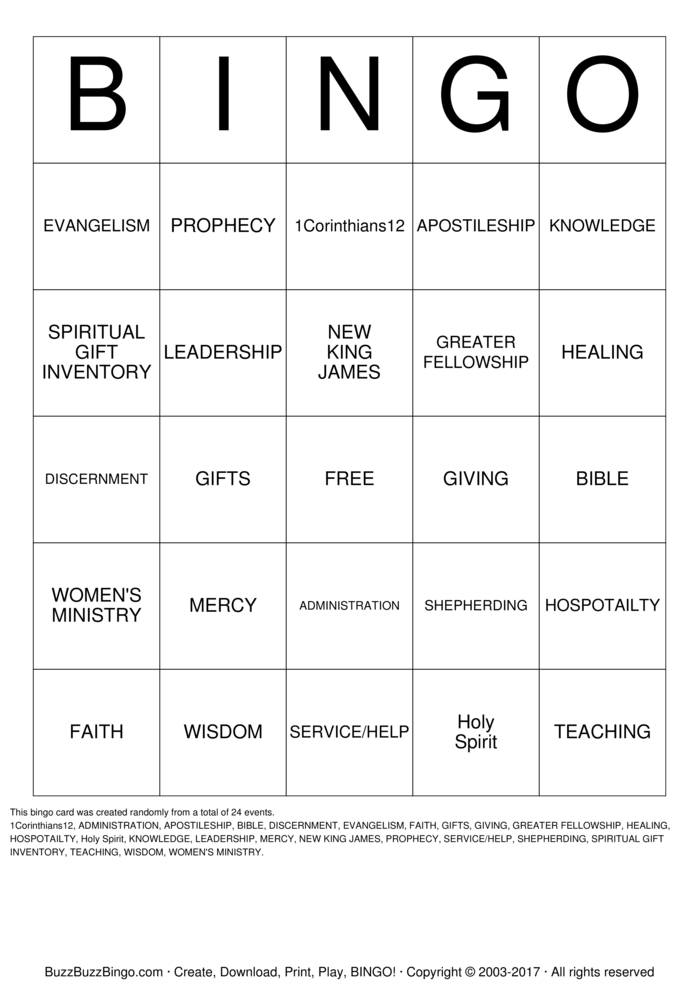 Spiritual Gifts Bingo Instructions