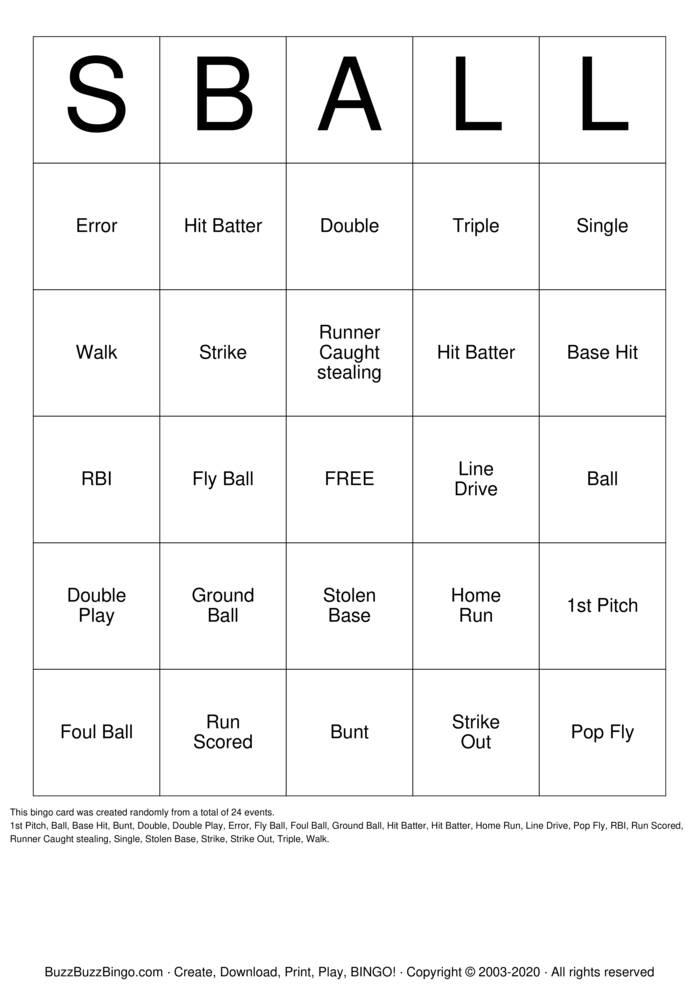 Download Free Softball Bingo Cards