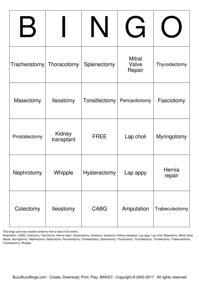 Download Free Surgery Bingo Cards