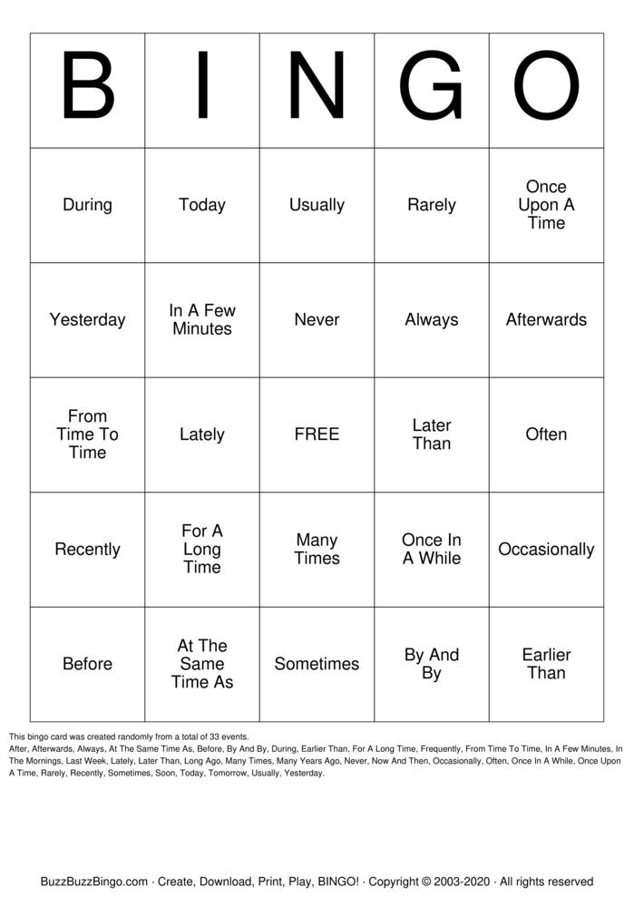 Download Free Time Adverbs Bingo Cards