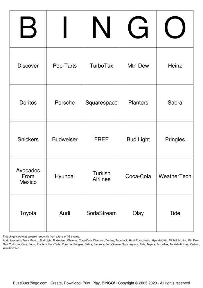Download Free 2020 Superbowl Commercials Bingo Cards