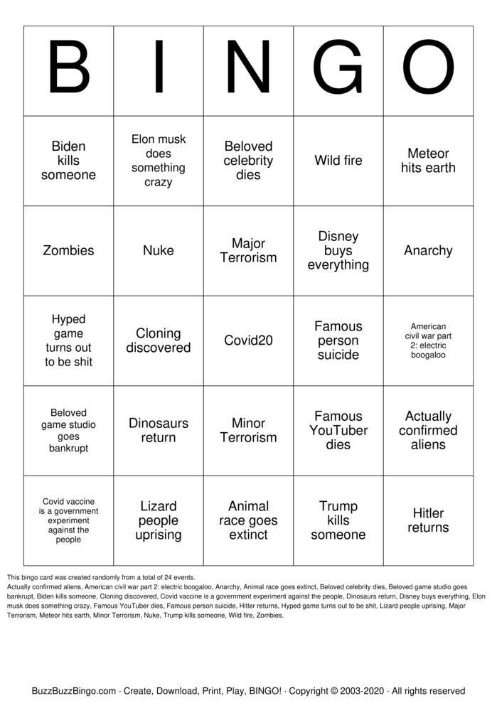 Download Free 2021 Bingo Cards