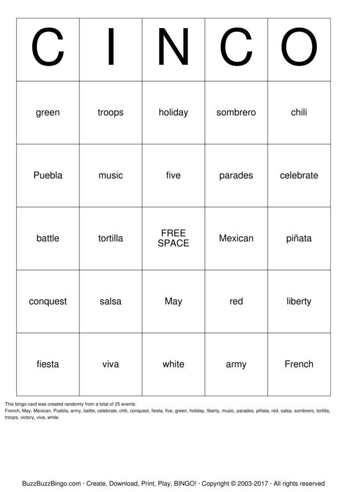 Download Free Cinco de Mayo Bingo Cards