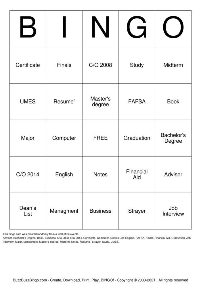 Download Free Class of 2021 Bingo Cards