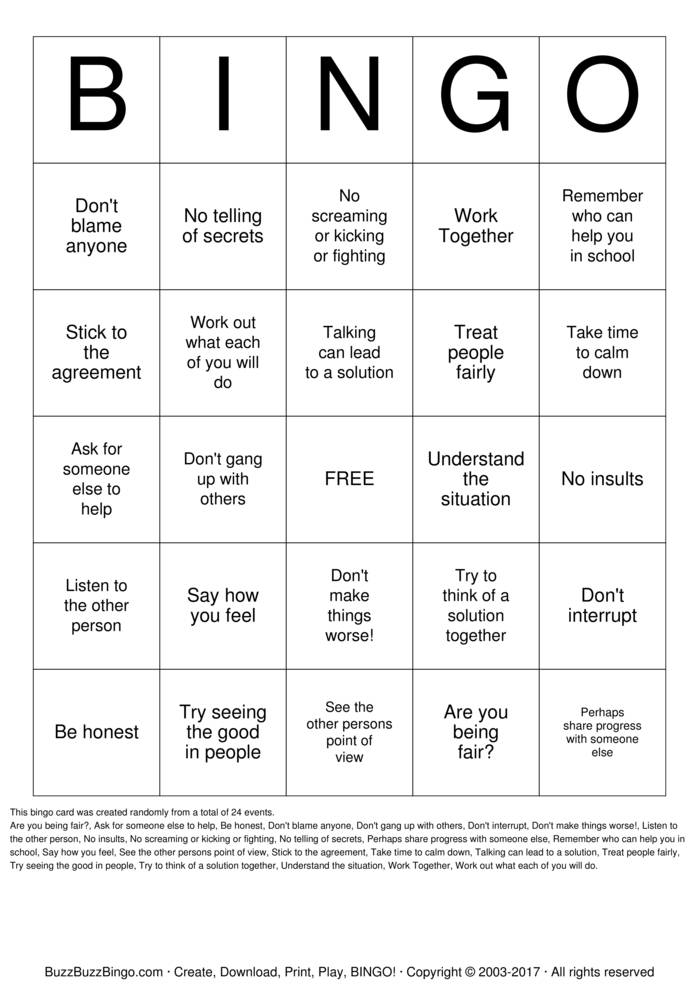 Download Free Conflict Resolution Bingo Cards