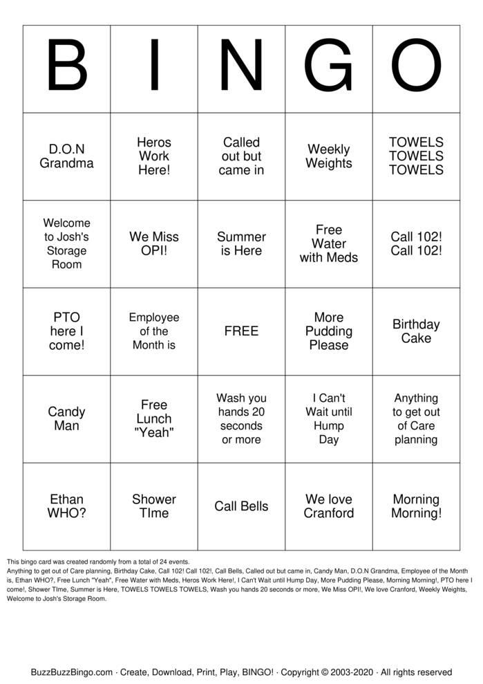 Download Free HAPPY CNA WEEK Bingo Cards