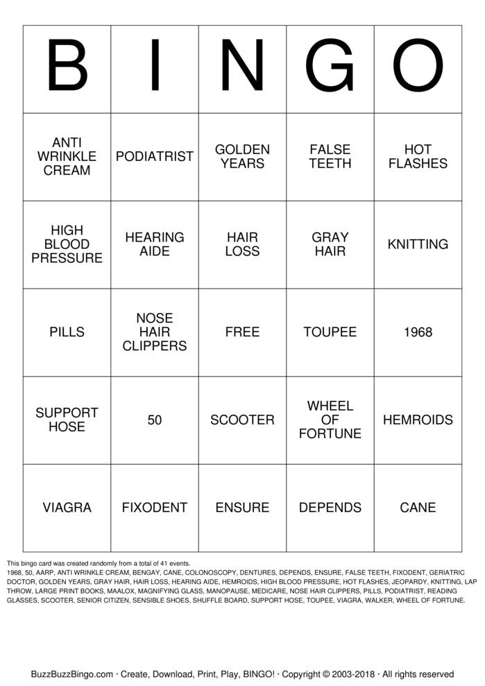 Download Happy 50th Curtis Bingo Cards