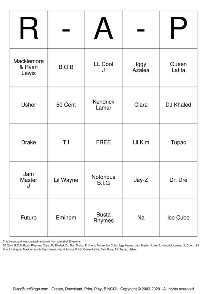 Download Free R & B(Artists) Bingo Cards