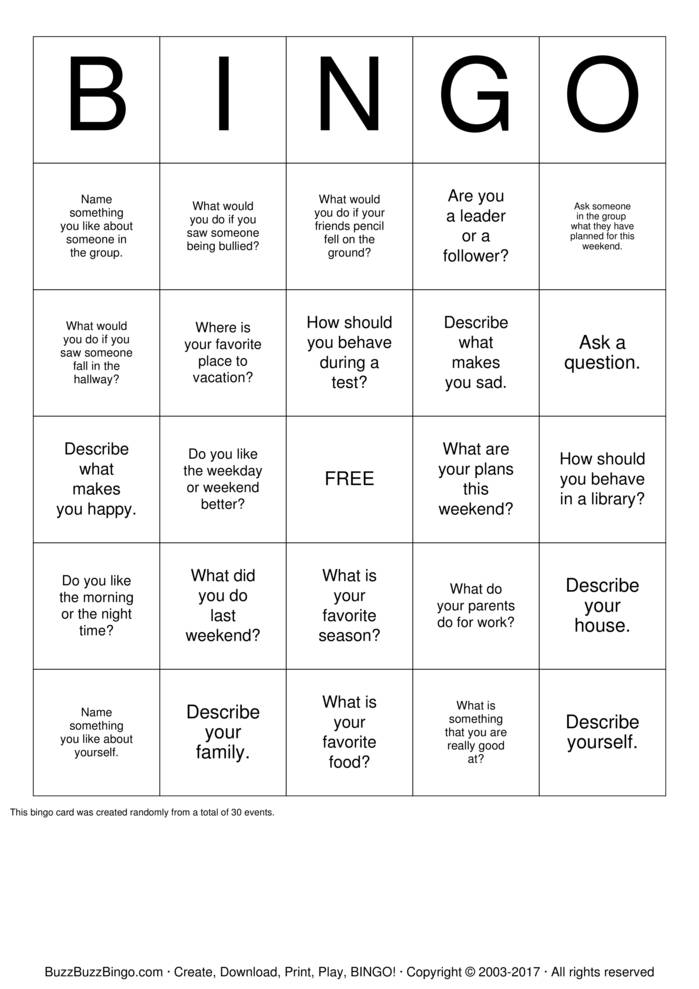 Download Free Social Skills  Bingo Cards