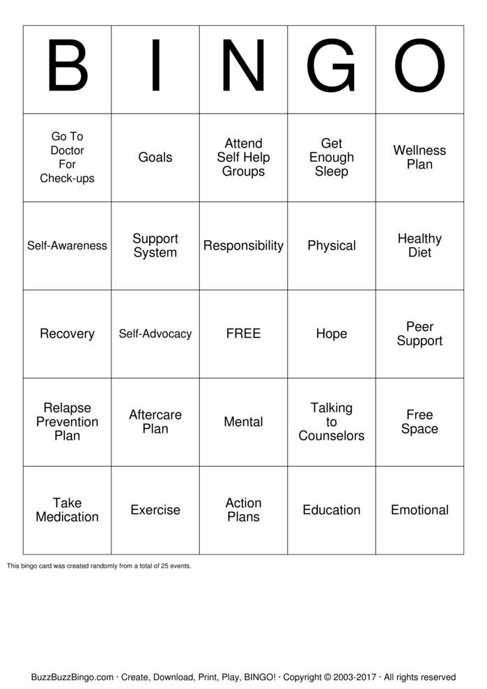 Download Free self advocacy skills Bingo Cards