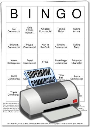 Superbowl Commercials Bingo Cards