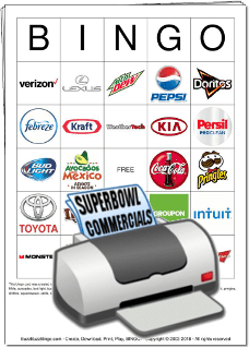 Superbowl Commercial Logos Bingo Cards