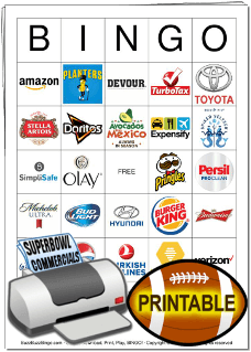 2020 Superbowl Commercial Logos Bingo Cards