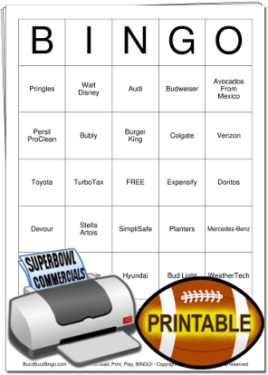 2020 Superbowl Commercials Bingo Cards