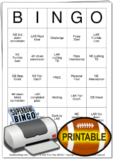 2019 Superbowl Bingo Cards