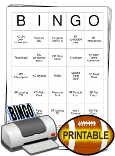 2020 Superbowl Bingo Cards