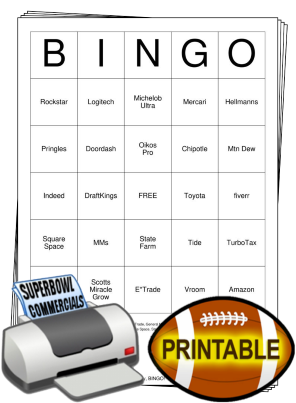 2021 Superbowl Commercials Bingo Cards
