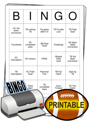 2021 Superbowl Bingo Cards